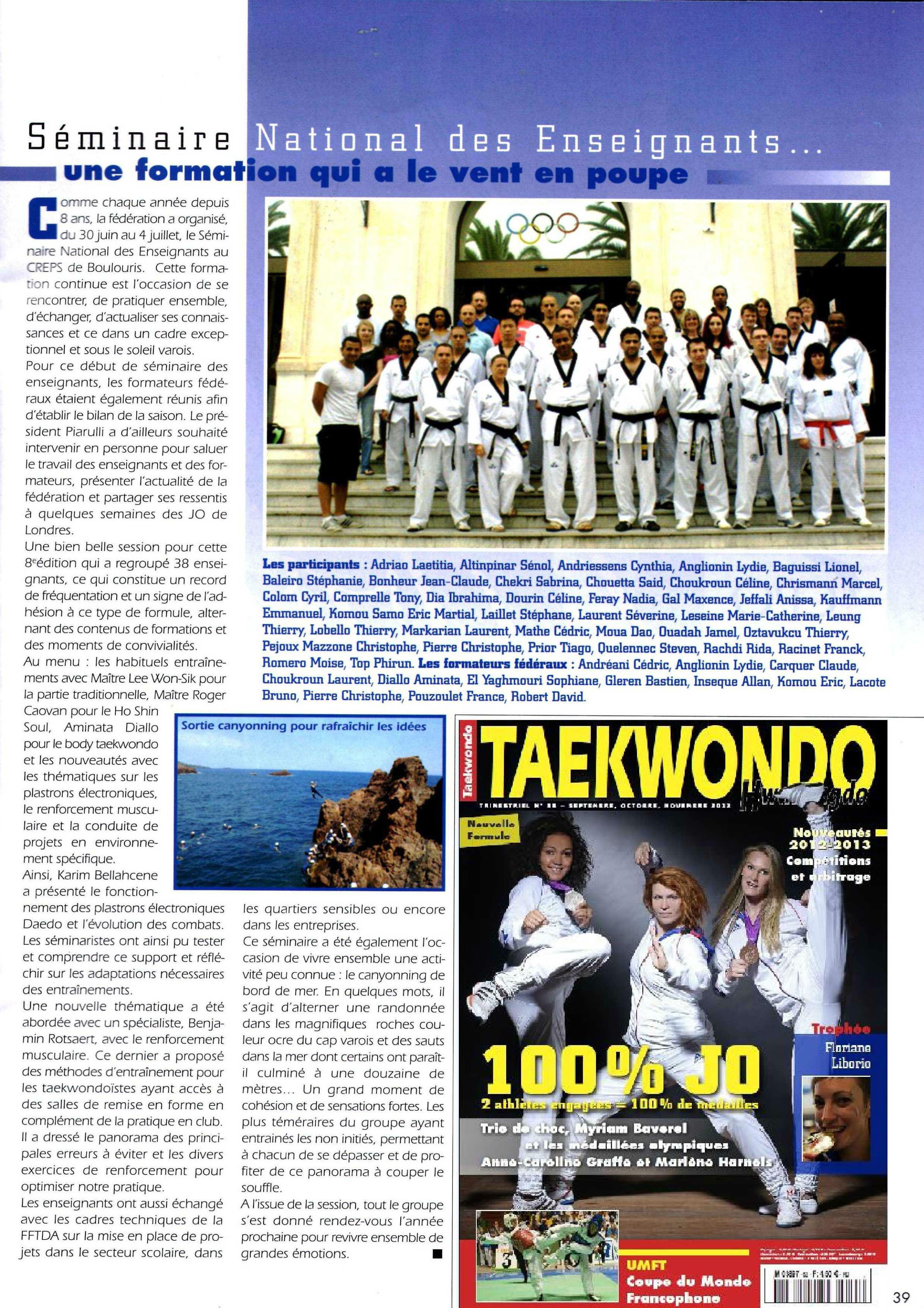 séminaire des enseignants taekwondo 2012 Boulouris